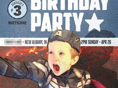 Superhero Birthday Party invitation superhero super hero birthday birthday party party captain america comics comic