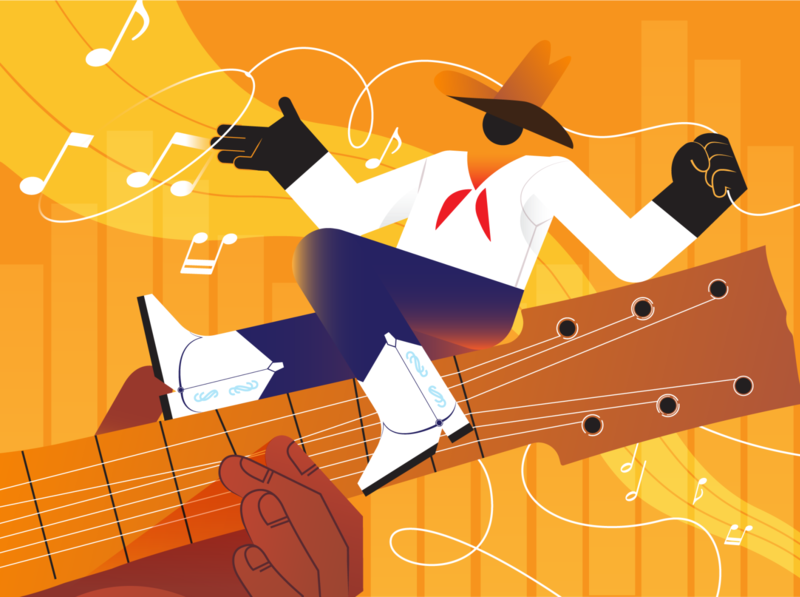 Wrangle in the Tunes radio country music music guitar cowboys email newsletter newsletter art editorial art vector art illustrator