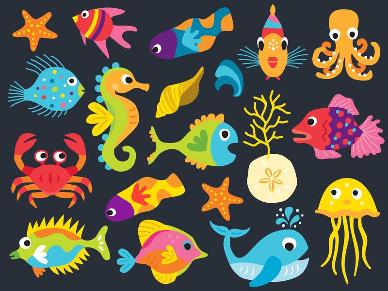 Sea Life Cuties vector sealife fish illustration