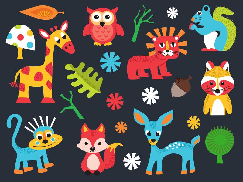 Animal Cuties Collection woodland animals animal digital vector illustration