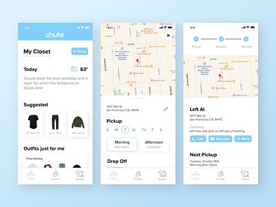 Chute Redesign discovery mock-ups ui branding app sketch