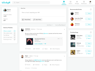Music Discovery Dashboard redesign ux sketch app social media discovery concept music mock-ups ui