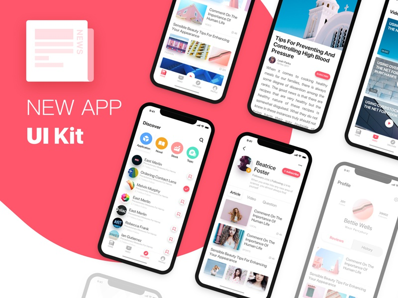 News APP UI Kit app news sketch ui kit