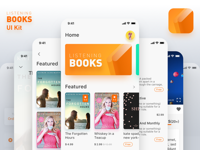 Listening Books UI Kit. books invision studio adobe xd app design sketch