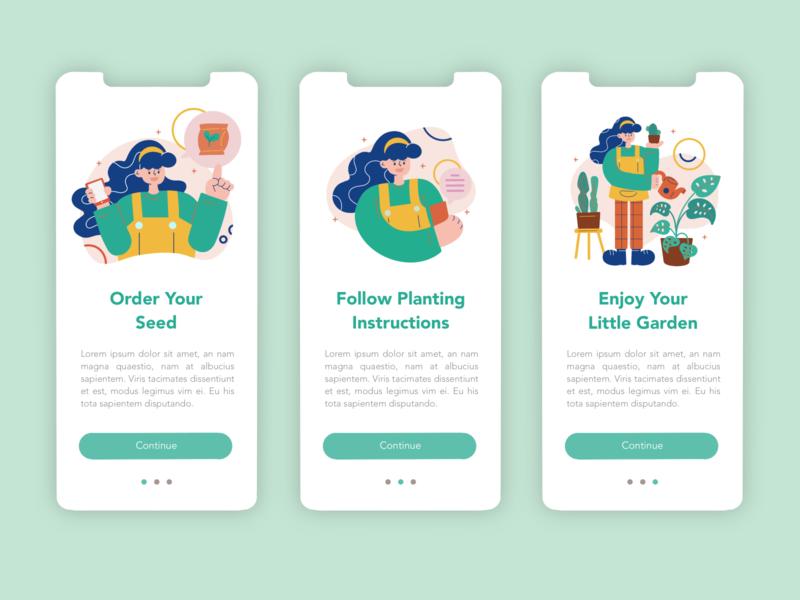 Gardening App Intro Slider Illustration ui illustration character vector uiux ui design flat illustration flat design app design ui digital illustration procreate illustration