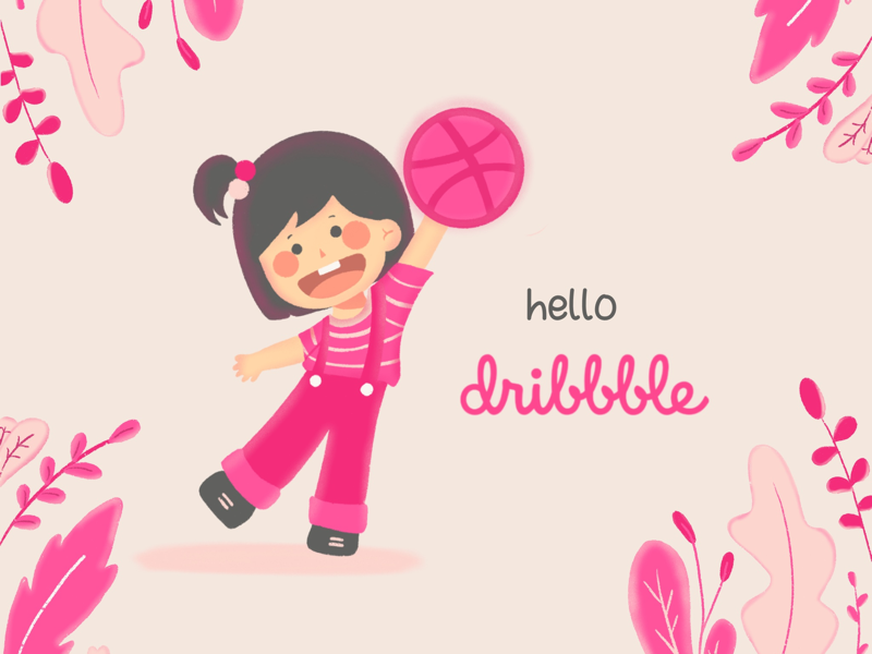 Hello, Dribbble! pastel cute character cartoon drawing art procreate illustration