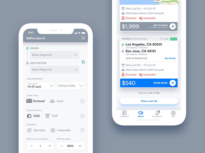 Cargo Transportation App UI by George Balinov on Dribbble