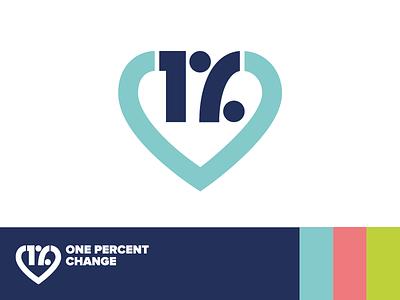 Logo design for One Percent Change love help donation heart charity logo