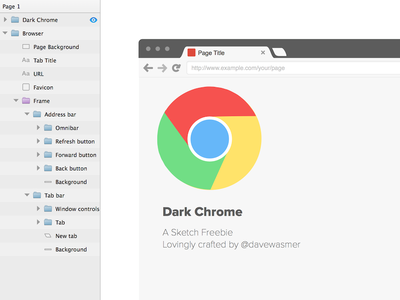 Dark Chrome Sketch Freebie sketch freebie resource chrome dark download browser mockup wireframe prototype