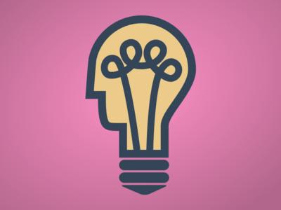 Light Bulb Head light bulb head idea light wire screw pink simple geometric flat