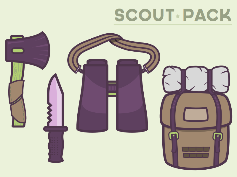 Scout Pack axe knife binoculars backpack camping boy scouts adventure sleeping bag rucksack flat vector outline