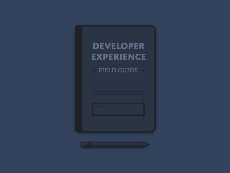Developer Experience Field Guide Illustration illustration notebook pencil paper book guide developer experience dx navy dark typography vector