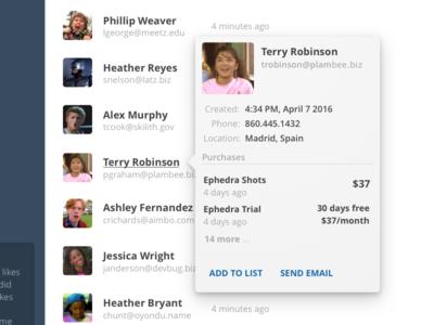 """Peek"" UI card hover profile web app app ui list users contacts peek"