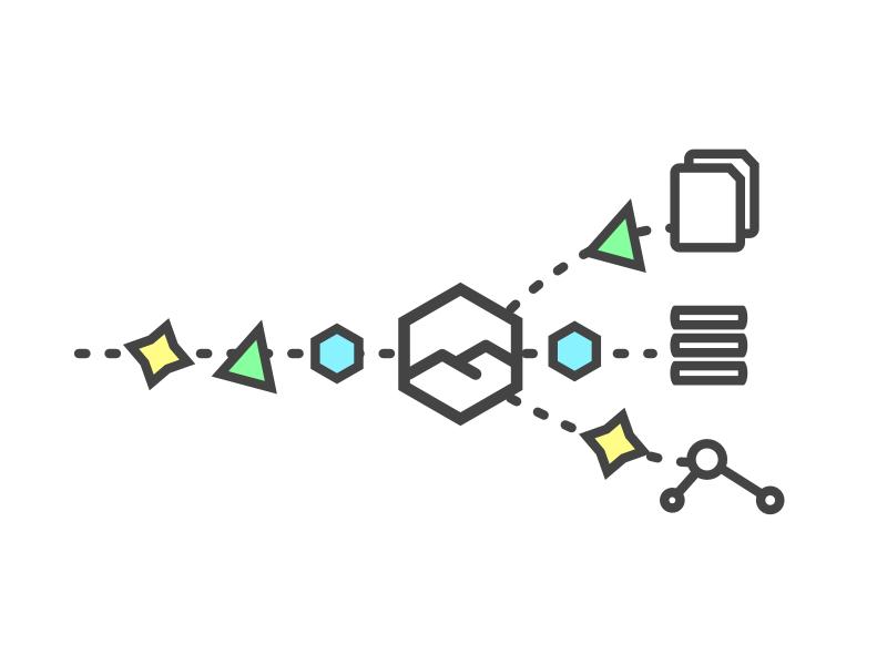 Denali Feature Graphic - Data Flexibility playful happy minimal colors shapes vector line data database