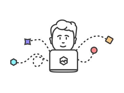 Denali Feature Graphic - Developer Happiness playful happy minimal colors shapes vector line developer laptop