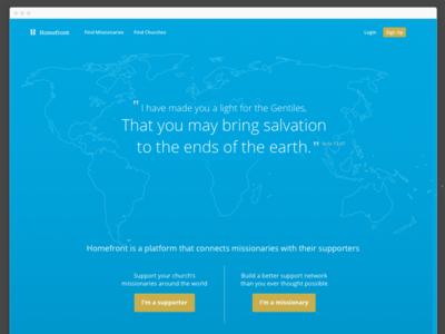 Homefront Homepage web app minimal landing page missionaries church
