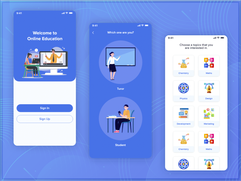 Online Education App Screens - 2 education app educational app screens design ios app android
