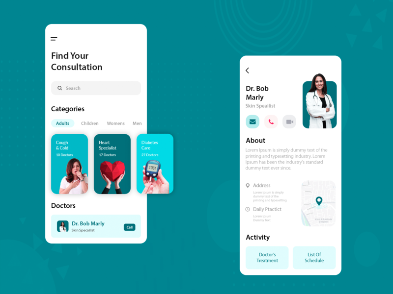 Doctor Consultation App health app doctor appointment ui  ux mockup mobile app app screens design ios app android app app consultation doctor app app design