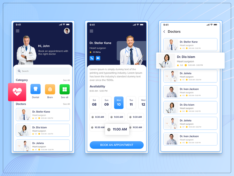 Doctor Consultation & Appointment App surgeons neuro heart dental specialist ui  ux mobile app health app consultation doctor appointment doctor app design mockup app screens android app ios app