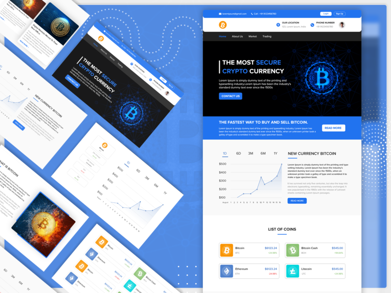 Crypto Currency Website ux ui development designing branding down up trading market web design webdesign website bitcoins cryptocurrency crypto wallet bitcoin crypto currency