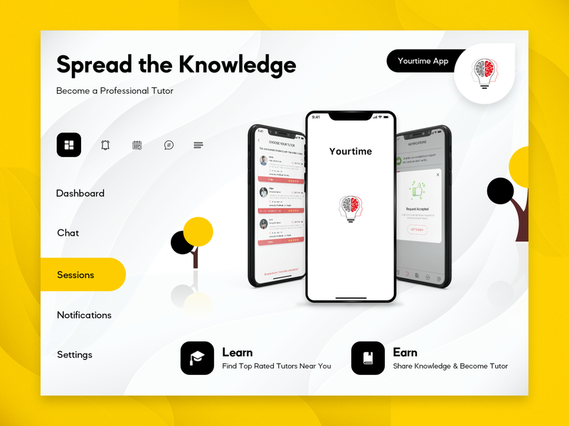 Yourtime Application on Android & iOS sessions educational connect screens app design answers questions chat video call learn earn tutor student education app education ios android design application app