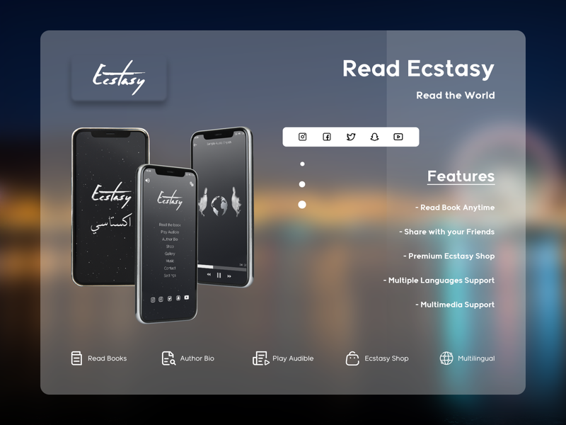 Ecstasy - Book Application in Android & iOS android app illustration app ios share design ux ui audiobook anywhere anytime multimedia author bio shop multilingual audio book read reading app ecstasy