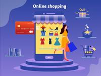 Online Shopping - Illustration Design buy illustration design ux ui 2d cart sale illustraion app ecommerce online shopping