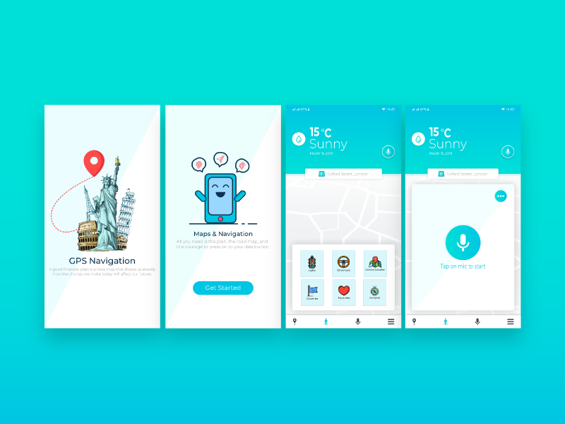 Gps Navigation App UI design by Taimoor Abbasi on Dribbble