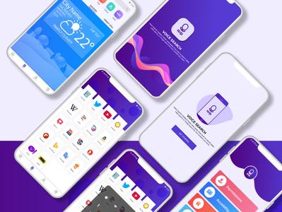 Voice search app ui design clean blue logo icon typography branding mobile uxdesign ux ui-ux design flat application vector ui desing illustrator illustration ui app interface design