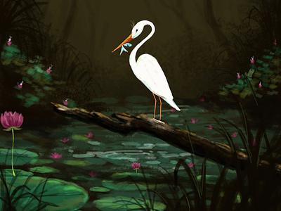 L O T U S  P O N D birds fineart drawing digital painting