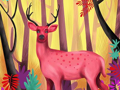 D E E R colorful illustration colorfull experimental postcard poster art animal art animal illustration animal forest animals deer illustration flatillustration stroke illustration adobeillustator illustration
