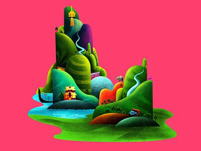 P A T H A N A M  T H I T TA branding graphic design land spotillstration colorfull illustration