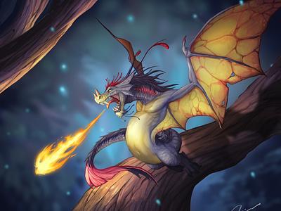 Faerie dragon colorful art dragon paint fantasyart fantasy creature photoshop illustration
