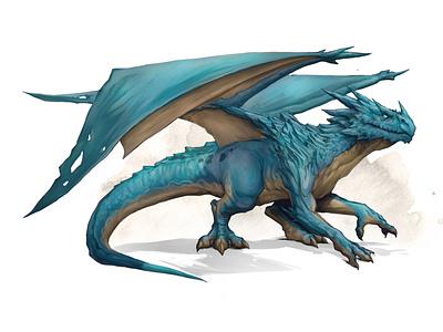 Blue dragon paint dragon fantasyart fantasy photoshop design illustration creature