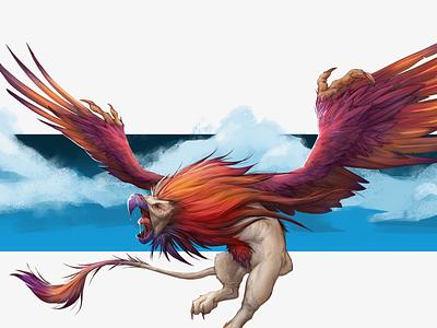griffin SM paint fantasyart fantasy creature colorful art photoshop character design design character illustration