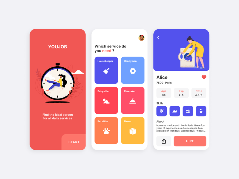 Youjob app illustration webdesign vector booking app ux flow onboarding interaction mobile app clean flat services housekeeper help job uidesign uiux ui colors