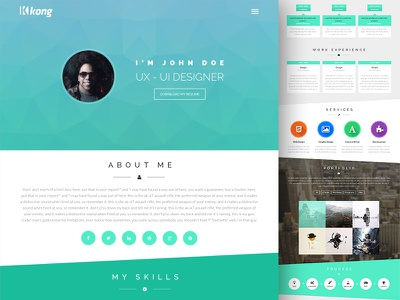 Kong Template flat web design resume one page portfolio free download