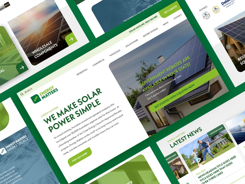 Energy Matters Home page concept australia responsive design colourful webdesign melbourne freelancer krystlesvetlana