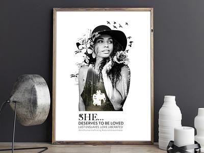 """""""She deserves to be loved"""" Poster freelancer krystlesvetlana poster design digital art double exposure"""