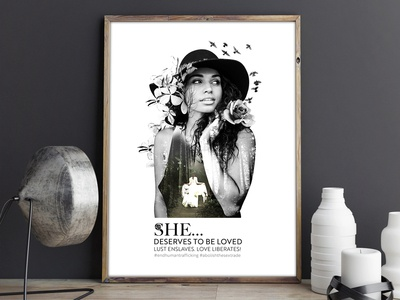 """She deserves to be loved"" Poster freelancer krystlesvetlana poster design digital art double exposure"