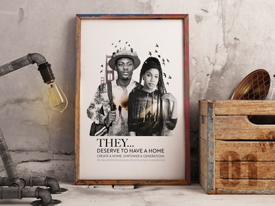 """They deserve to have a home"" Poster freelancer krystlesvetlana poster design digital art double exposure"