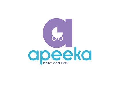 apeeka baby and kids kids baby fashion typography logo vector minimal illustrator illustration icon flat design branding