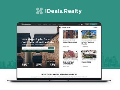 IDeals.Realty ecommerce offices portal estate building house rental property interface commercial ui real estate