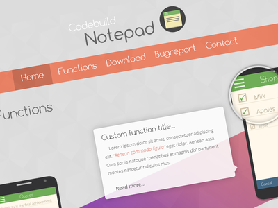 Notepad app website design notepad app website design mobile onepage branding