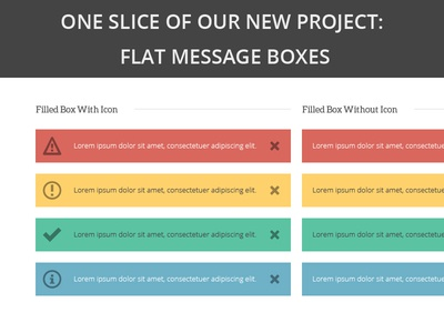 Flat message boxes
