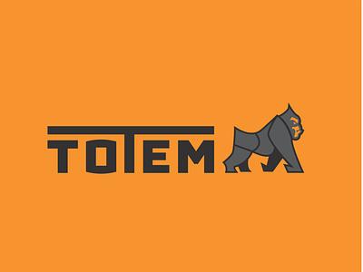 Totem Fitness totem gorilla branding lines logo design vector simple illustration