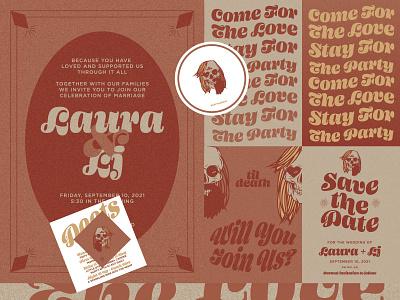 Wedding Invite Suite 70s 60s boho til death skull save the date wedding invites invite design vector illustration
