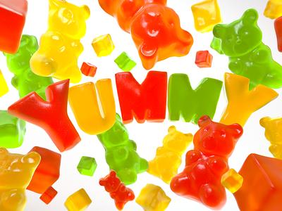 Yummy! pm87 yummy 3d sweets candy photorealistic piotr mirosz mirosz freelancer gummy bear cg illustration design art direction octane cinema4d