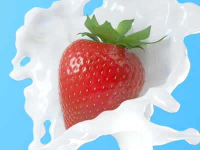 Strawberry fluid simulation yogurt strawberry photorealistic mirosz mirosz piotr freelance octane advertising cinema 4d illustration art direction c4d 3d