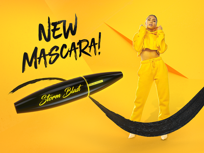 Storm Blast - Mascara girl typography cosmetics beauty mascara branding product visualization key visual piotr mirosz mirosz advertising compositing after effect design illustration cinema4d octane c4d 3d art direction